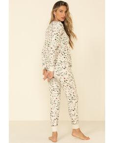 PJ Salvage Women's Floral Fleece Pajama Bottoms, Ivory, hi-res