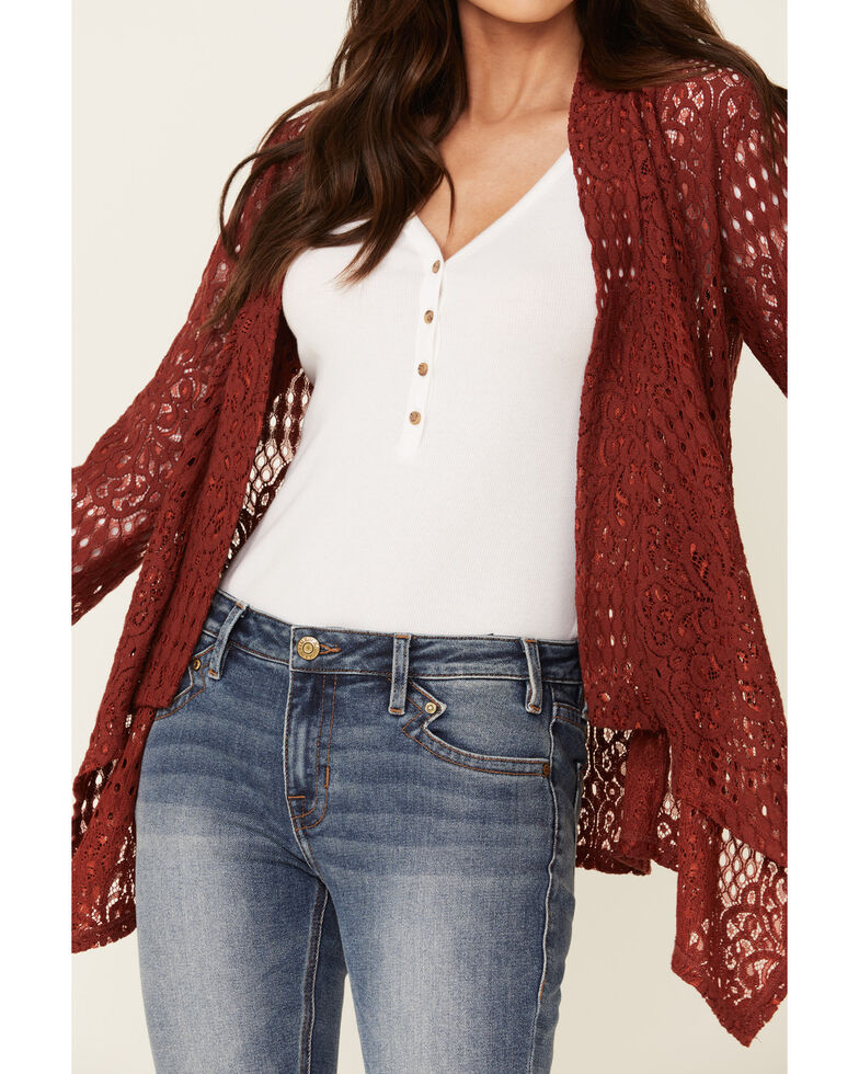 Rock & Roll Denim Women's Lace Draped Front Cardigan , Rust Copper, hi-res