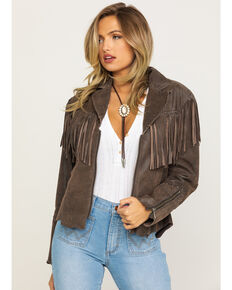 Cripple Creek Women's Stud Cross Fringe Leather Jacket, Brown, hi-res
