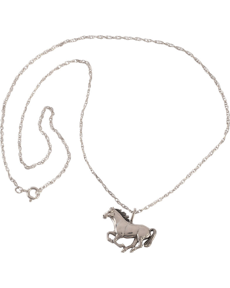 Silver Legends Women's Sterling Silver Running Horse Necklace  , Silver, hi-res