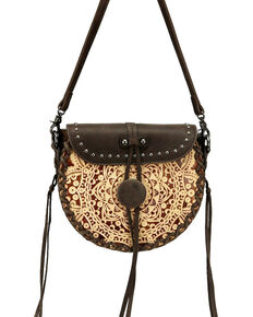 Montana West Women's Mandala Tooled Crossbody Bag, Coffee, hi-res