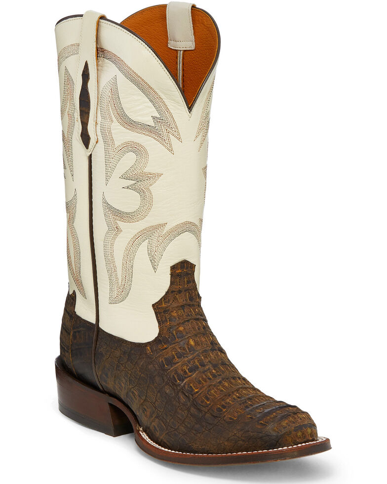 Tony Lama Men's Zachary Exotic Caiman Western Boots - Round Toe, Brown, hi-res