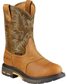 Ariat Men's Brown H20 Workhog Work Boots - Composite Toe, Aged Bark, hi-res