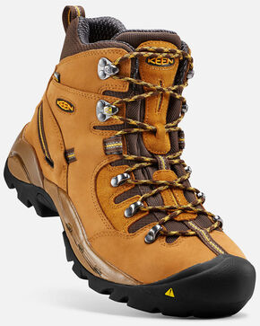Keen Men's Pittsburgh Waterproof Work Boots - Steel Toe, Tan, hi-res