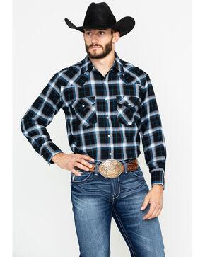 Ely Cattleman Men's 4.5 Oz.Plaid Long Sleeve Western Shirt - Tall , Black, hi-res