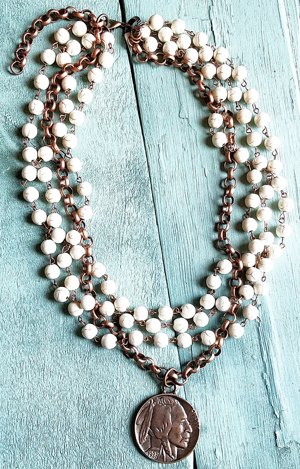 Jewelry Junkie White Turquoise and Copper Coin Choker Necklace, White, hi-res