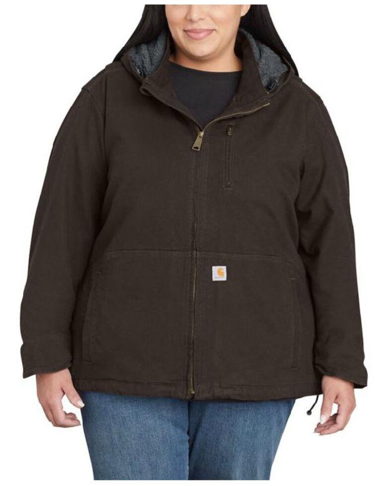 Carhartt Women's Dark Brown Full Swing Caldwell Duck Jacket - Plus, Dark Brown, hi-res