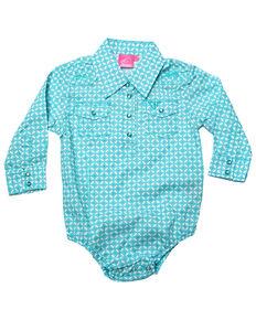 1f49484ecbed50 Cowgirl Hardware Infant Girls Turquoise Snowflake Diamond Print Long Sleeve  Western Romper, Turquoise, hi