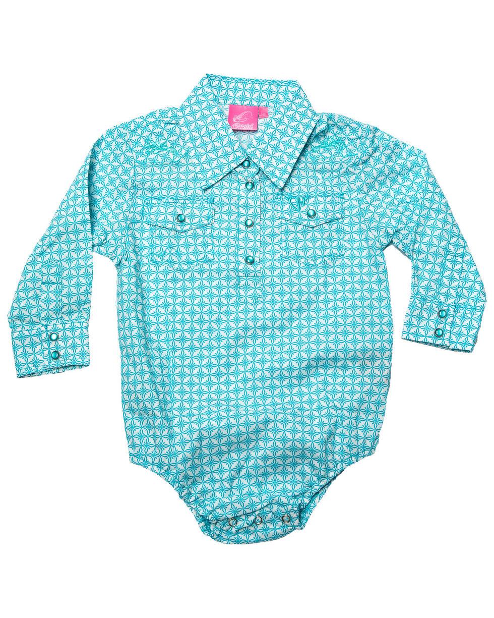 Cowgirl Hardware Infant Girls' Turquoise Snowflake Diamond Print Long Sleeve Western Romper, Turquoise, hi-res
