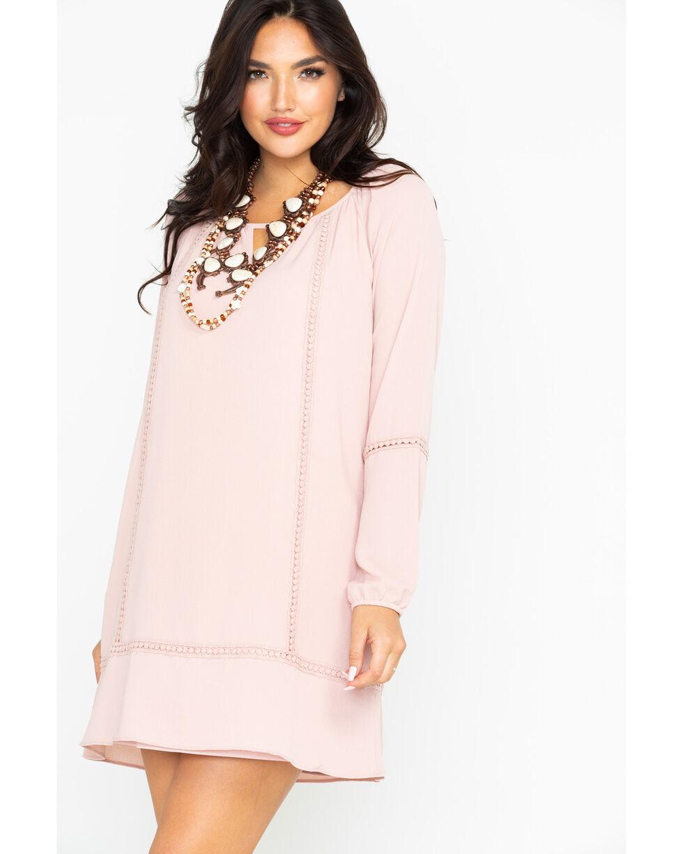 Wrangler Women's Blush Peasant Tunic Keyhole Ladder Lace Dress, Blush, hi-res