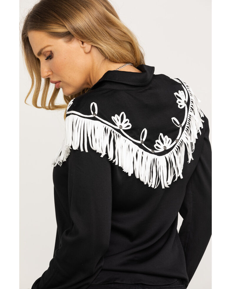 Idyllwind Women's Fringe Western Shirt, Black, hi-res