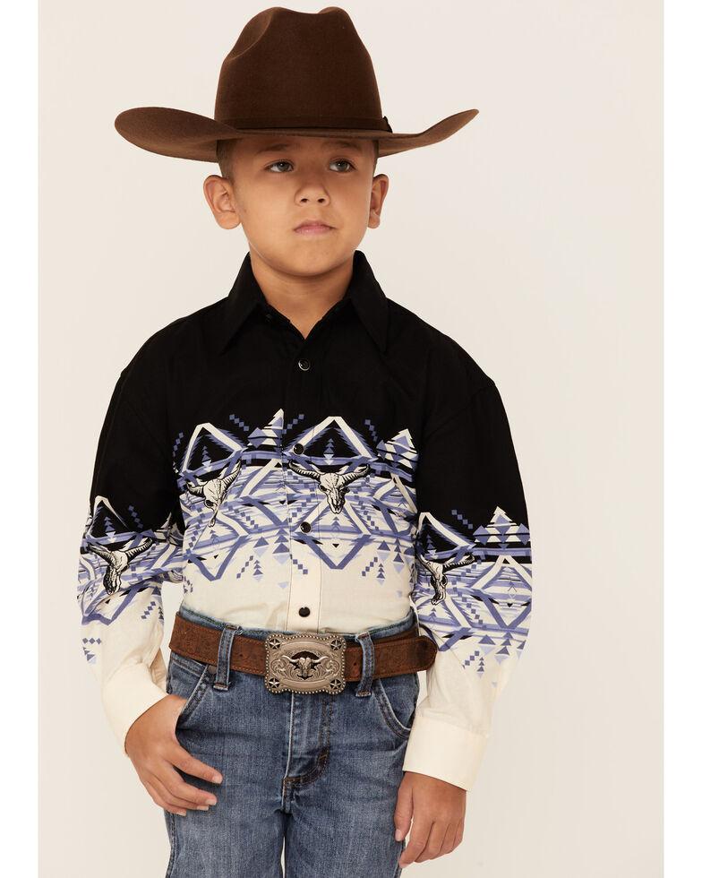 Panhandle Boys' Multi Aztec Longhorn Border Print Long Sleeve Western Shirt , Multi, hi-res