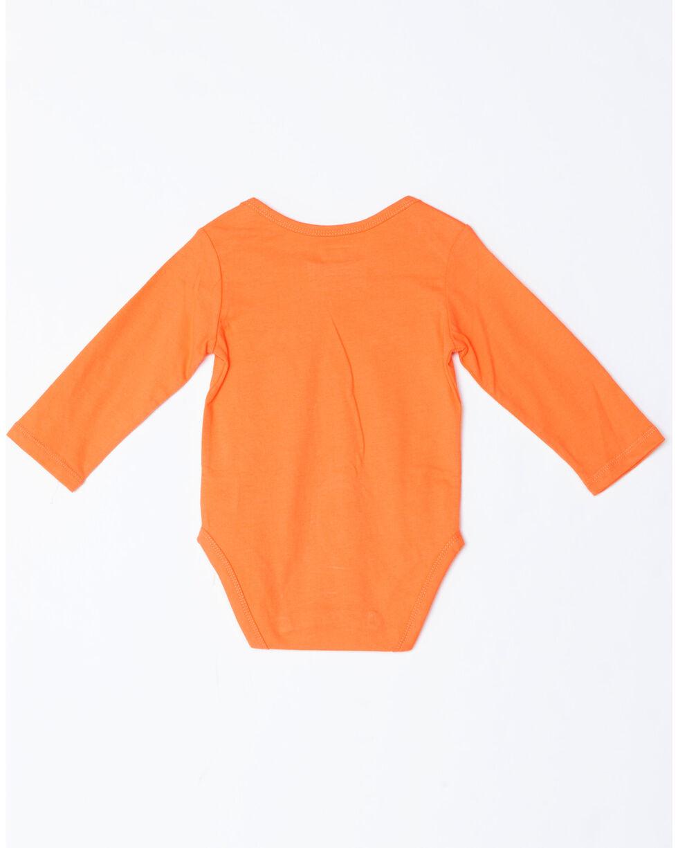 Wrangler Infant Girls' Home Grown Long Sleeve Onesie, Coral, hi-res