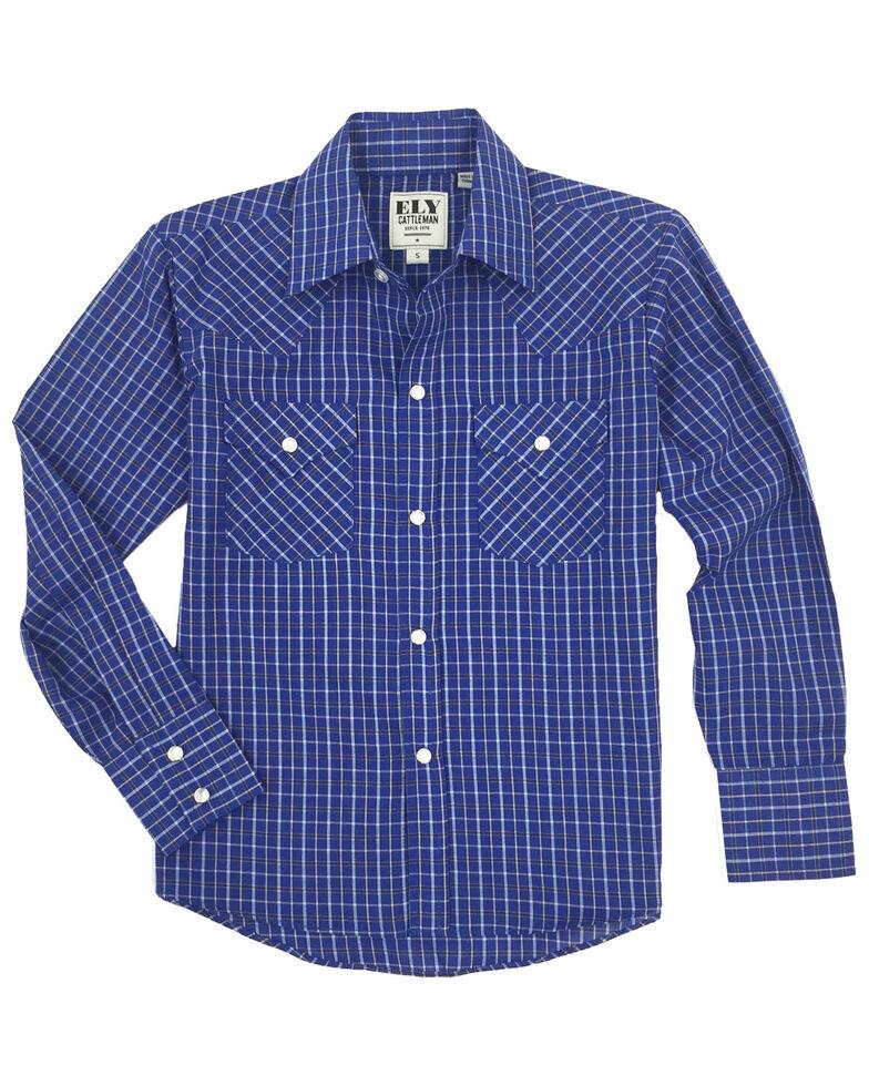 Ely Cattleman Boys' Blue Check Plaid Long Sleeve Western Shirt , Blue, hi-res