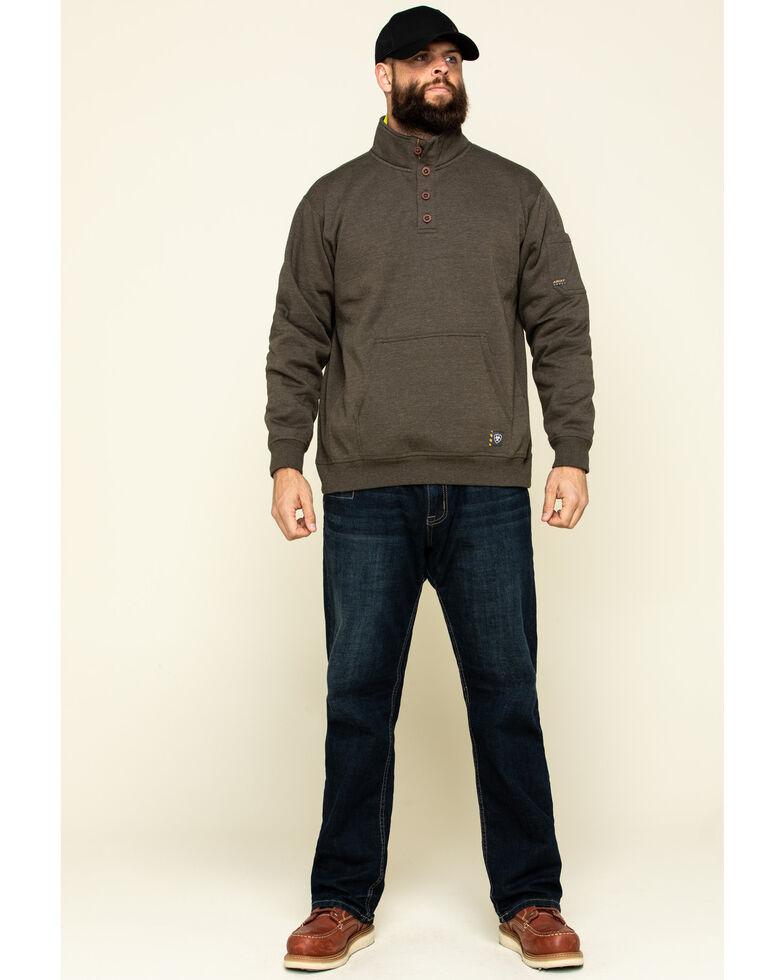 Ariat Men's Wren Heather Rebar Overtime Fleece Work Pullover - Big , Brown, hi-res