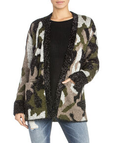 Miss Me Women's Textured Camo Cardigan , Olive, hi-res