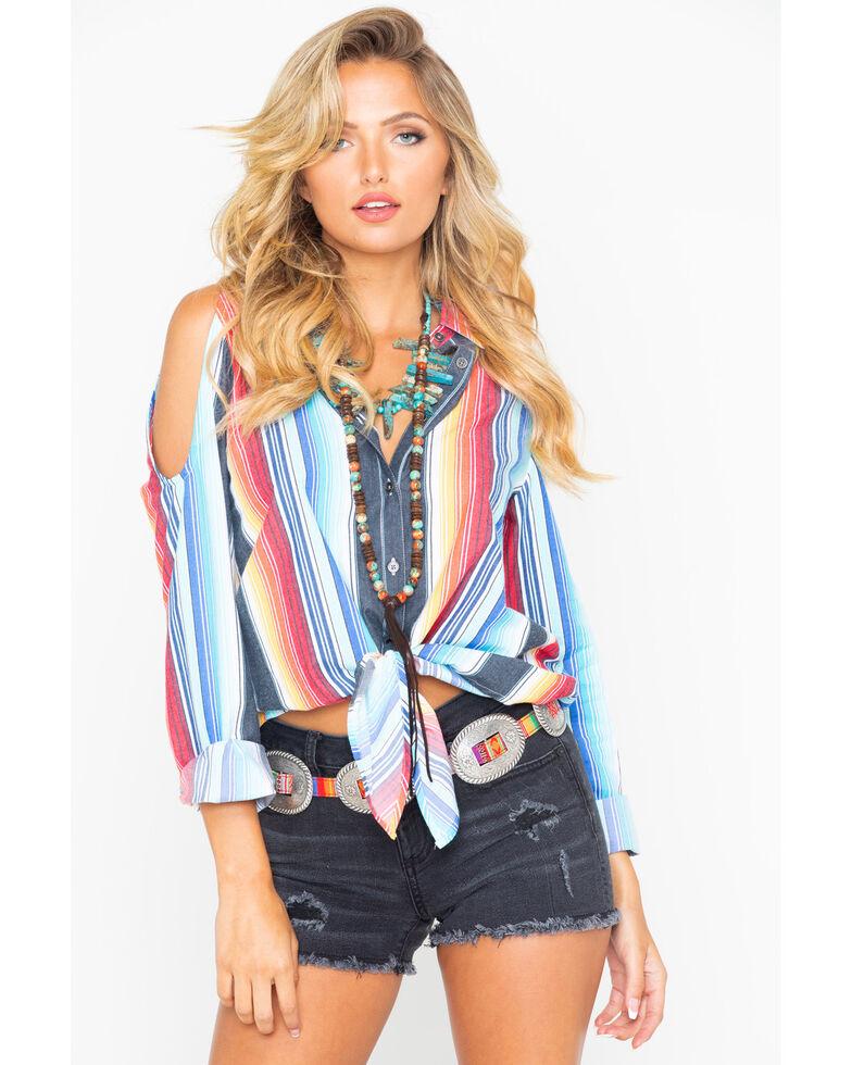 Rock & Roll Cowgirl Women's Serape Cold Shoulder Western Shirt, Multi, hi-res