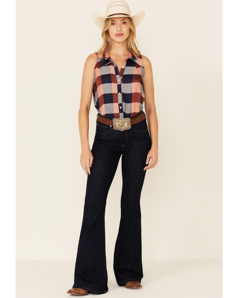 Luna Chix Women's Rust & Navy Buffalo Plaid Sleeveless Button-Down Western Shirt , Rust Copper, hi-res