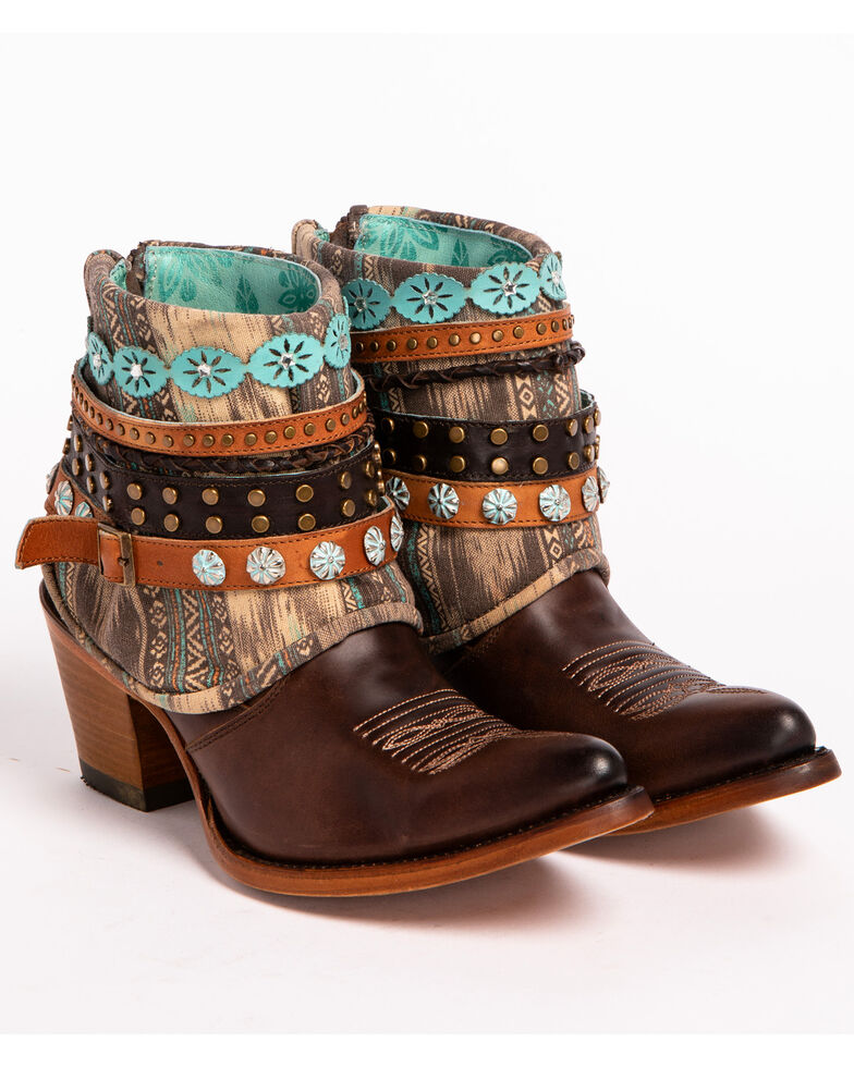 Corral Women's Brown Studded & Woven Harness Booties - Pointed Toe , Bronze, hi-res
