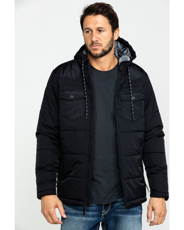 Cody James Men's Round Up Two Tone Western Styled Hooded Winter Puffer Coat , Black, hi-res