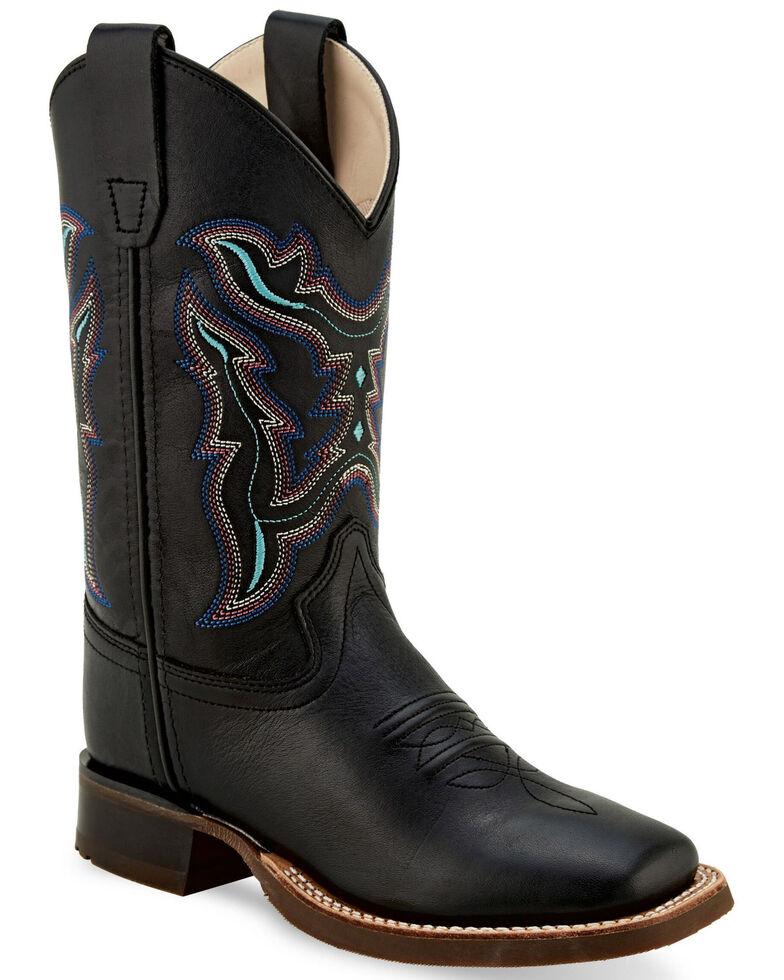 Old West Kids' Colorful Embroidered Black Western Boots - Wide Square, Black, hi-res