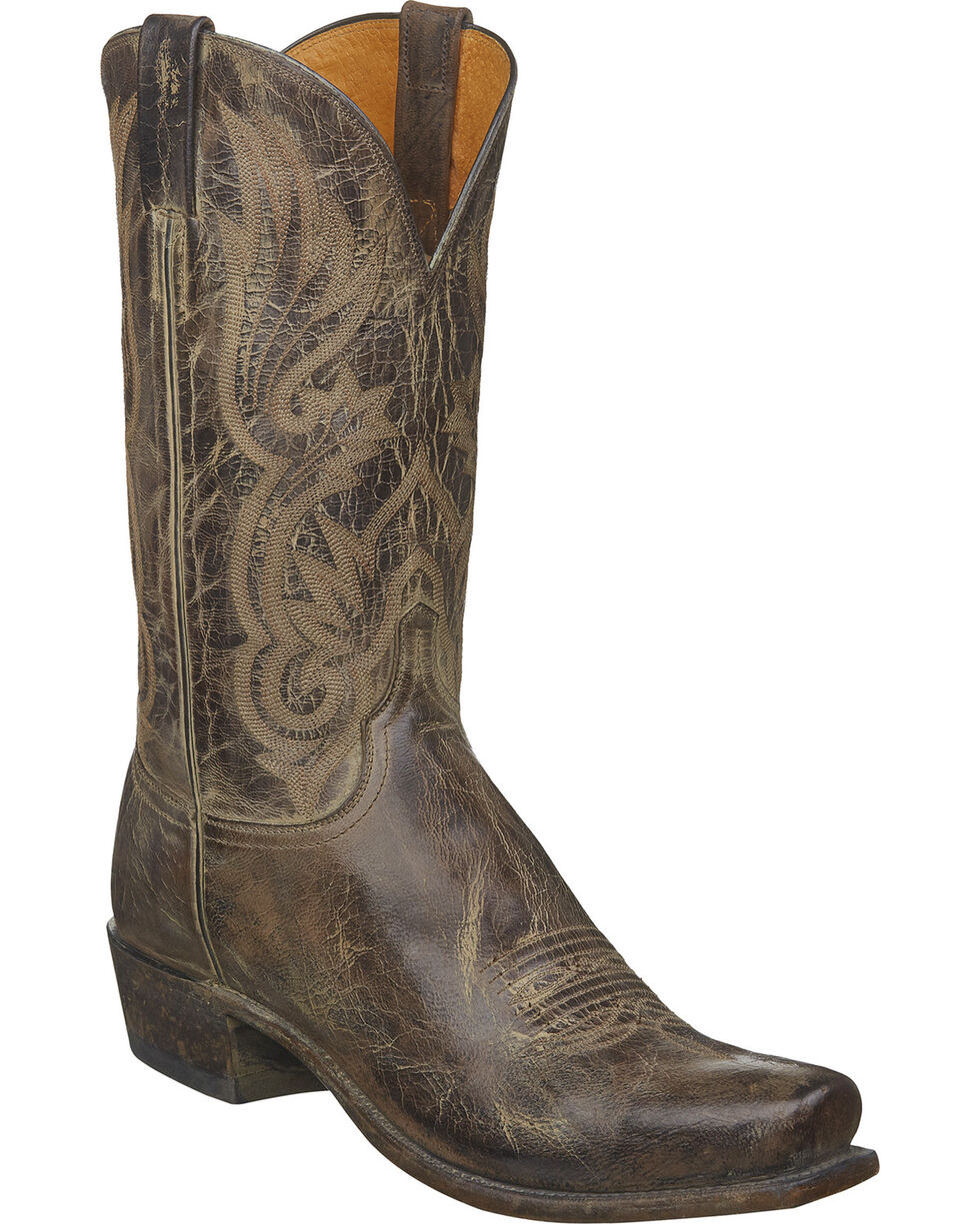 Lucchese Men's Whittaker Antique Western Boots - Snip Toe, Brown, hi-res