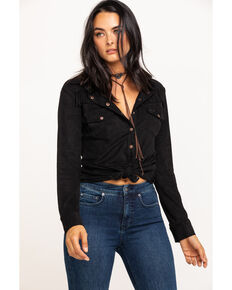 Shyanne Life Women's Faux Suede Fringe Long Sleeve Western Shirt, Black, hi-res