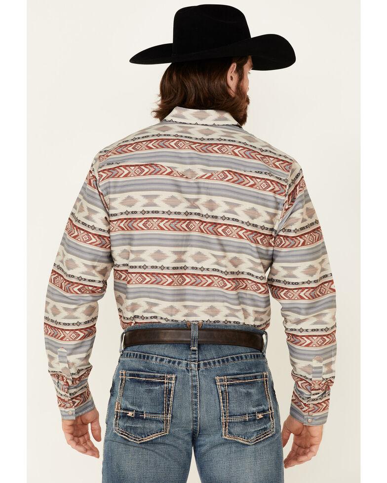 Roper Men's Red Striped Aztec Print Long Sleeve Snap Western Shirt , Red, hi-res