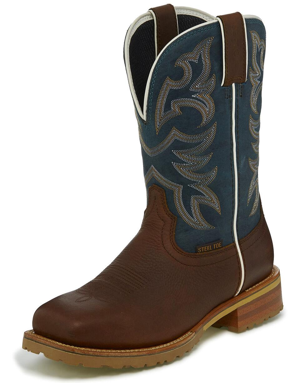 Justin Men's Marshal Waterproof Western Work Boots - Steel Toe, Cognac, hi-res