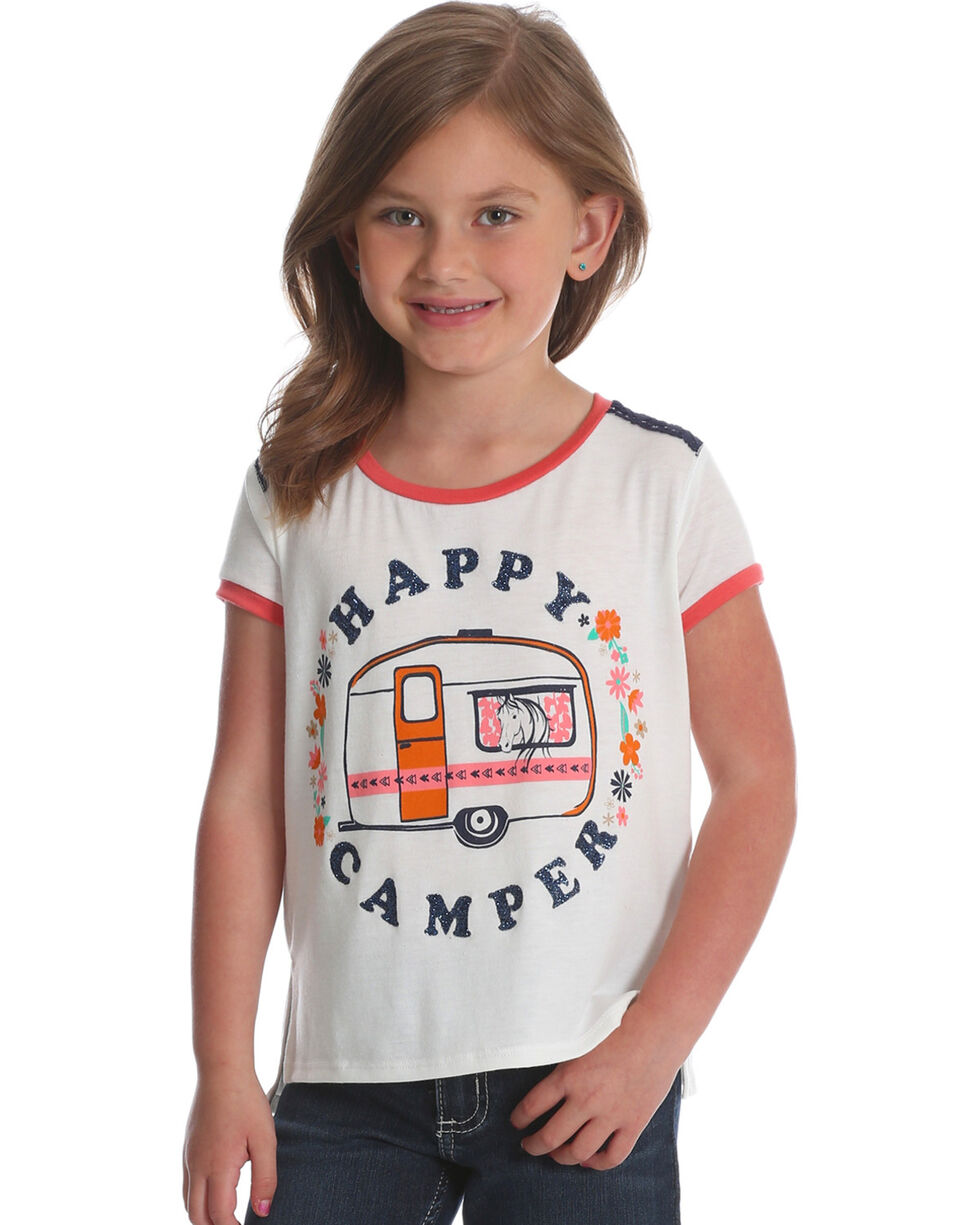 Wrangler Girls' White Happy Camper Top , White, hi-res
