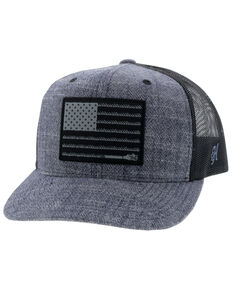 Hooey Men's Navy Black Liberty Roper Flag Patch Mesh Ball Cap , Camouflage, hi-res