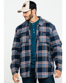 Hawx Men's Navy Sherpa Lined Plaid Zip Front Shirt Work Jacket , Navy, hi-res