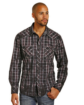Rock & Roll Cowboy Men's Spray Washed Plaid Long Sleeve Shirt, Black, hi-res