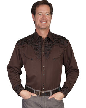 Scully Floral Embroidered Western Shirt, Chocolate, hi-res