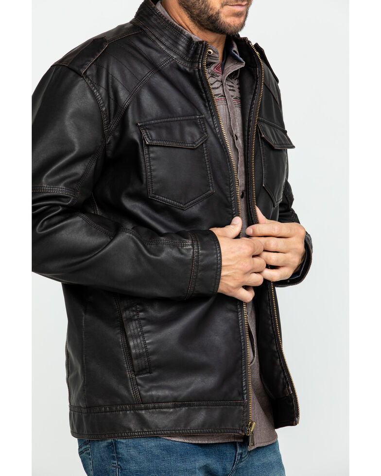 Cody James Men's Backwoods Distressed Faux Leather Moto Jacket - Big & Tall , Brown, hi-res