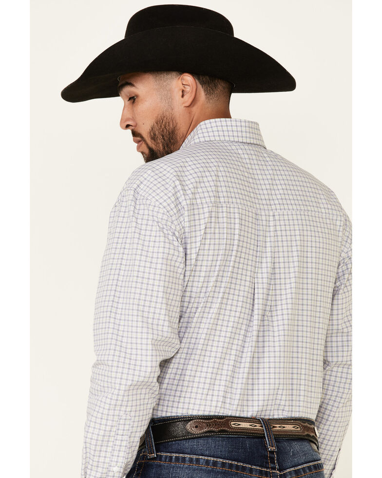 George Strait By Wrangler Men's Navy Check Plaid Long Sleeve Button-Down Western Shirt - Big , Navy, hi-res