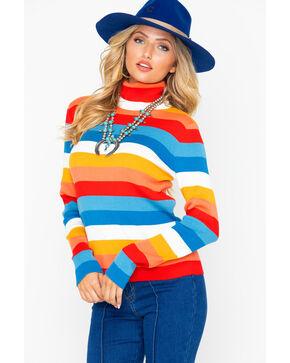 Wrangler Women's Roll Neck Striped Long Sleeve Shirt  , Orange, hi-res