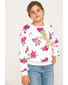 Shyanne Girls' Fuzzy Floral Sweatshirt & Beanie , White, hi-res