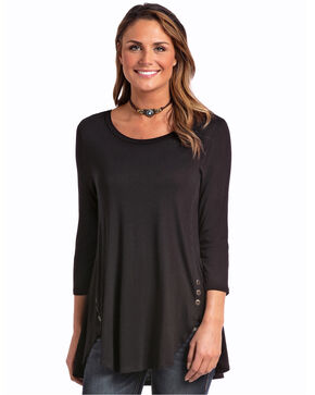 Panhandle Women's Side Button 3/4 Sleeve Shirt, Black, hi-res
