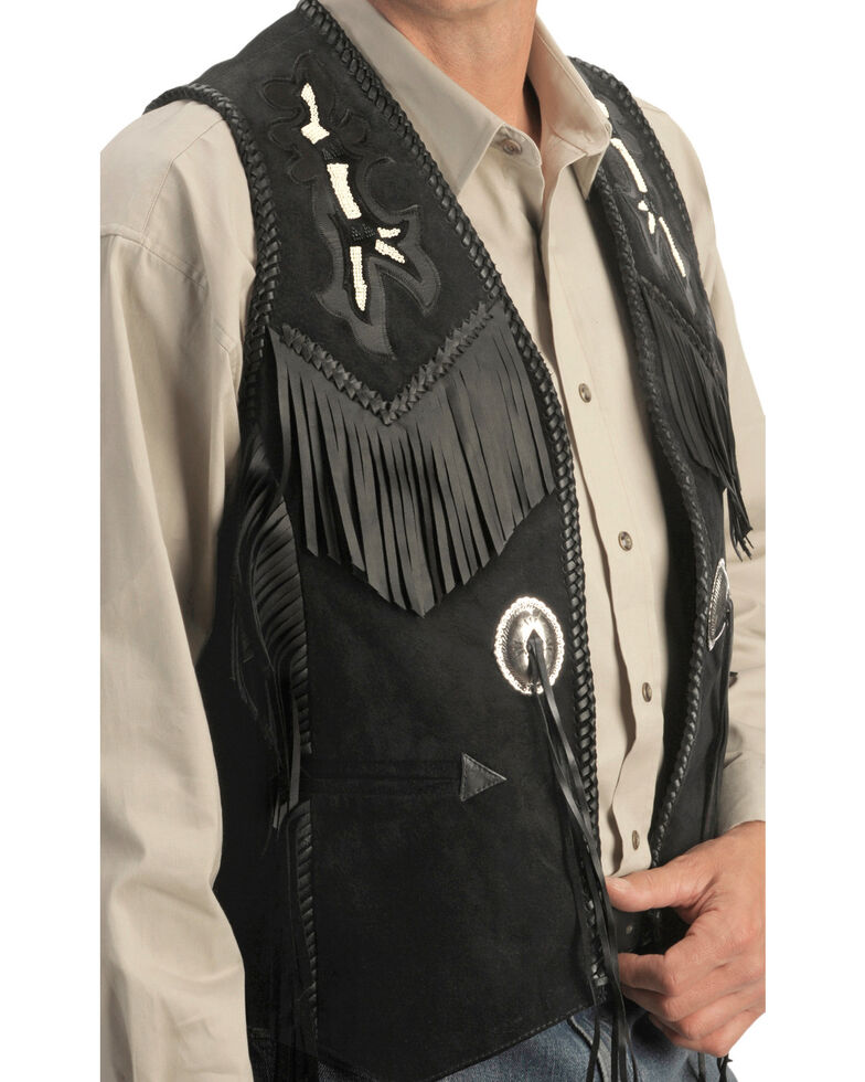 Scully Beaded Boar Suede Leather Vest, Black, hi-res