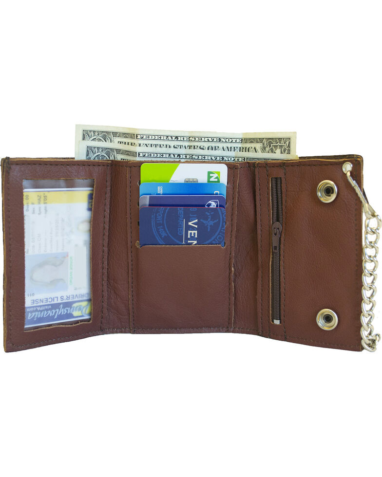 Western Express Men's Brown Leather Trifold Horse Wallet , Brown, hi-res