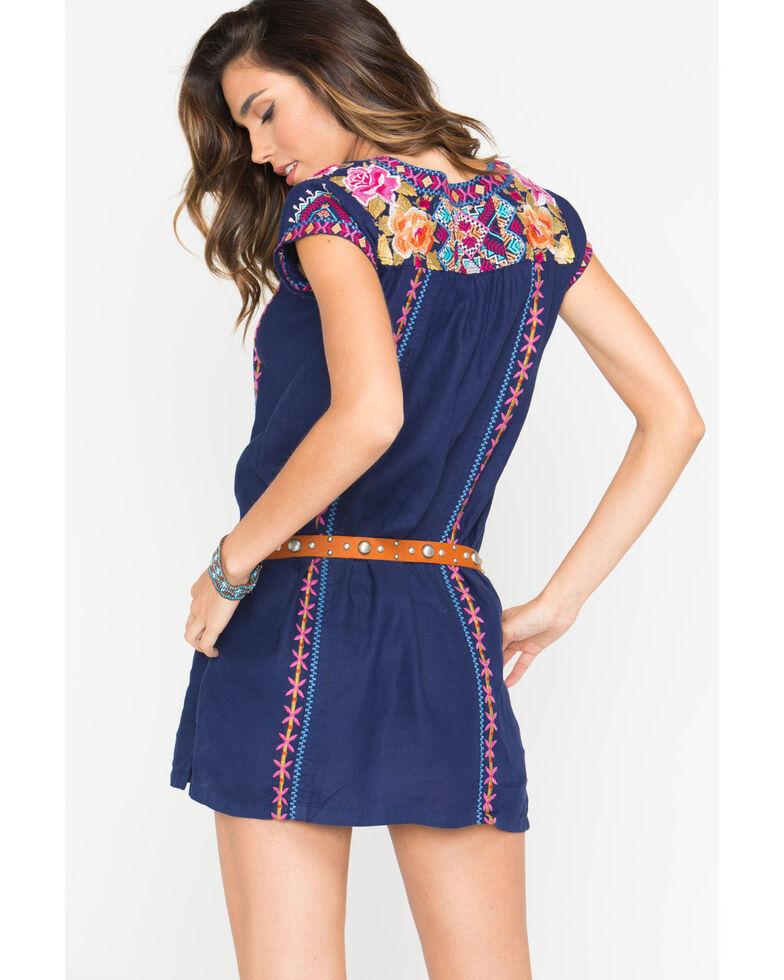 Johnny Was Women's Navy Vella V-Neck Mexican Tunic Dress , Navy, hi-res