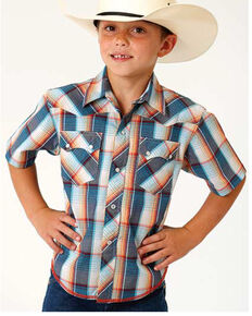 Roper Boys' Performance Sundown Plaid Short Sleeve Western Shirt , Blue, hi-res