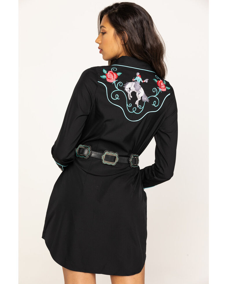 Old West Women's Black Rose Embroidered Western Shirt Dress, Black, hi-res