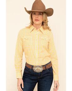 Wrangler Women's Mustard Gingham Plaid Snap Long Sleeve Western Shirt, Dark Yellow, hi-res