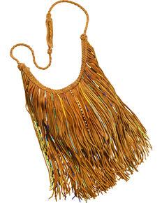 Kobler Leather Tan Bead And Fringe Gypsy Bag Hi Res