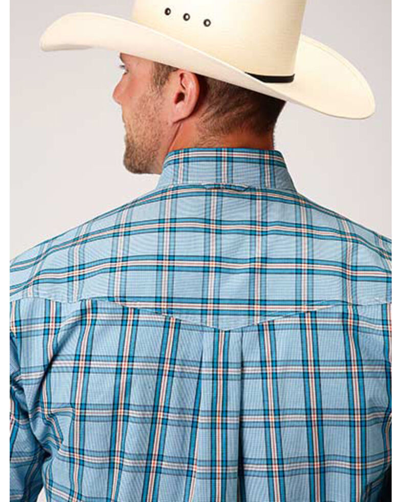 Roper Men's Amarillo Oasis Cold Creek Plaid Long Sleeve Western Shirt, Blue, hi-res