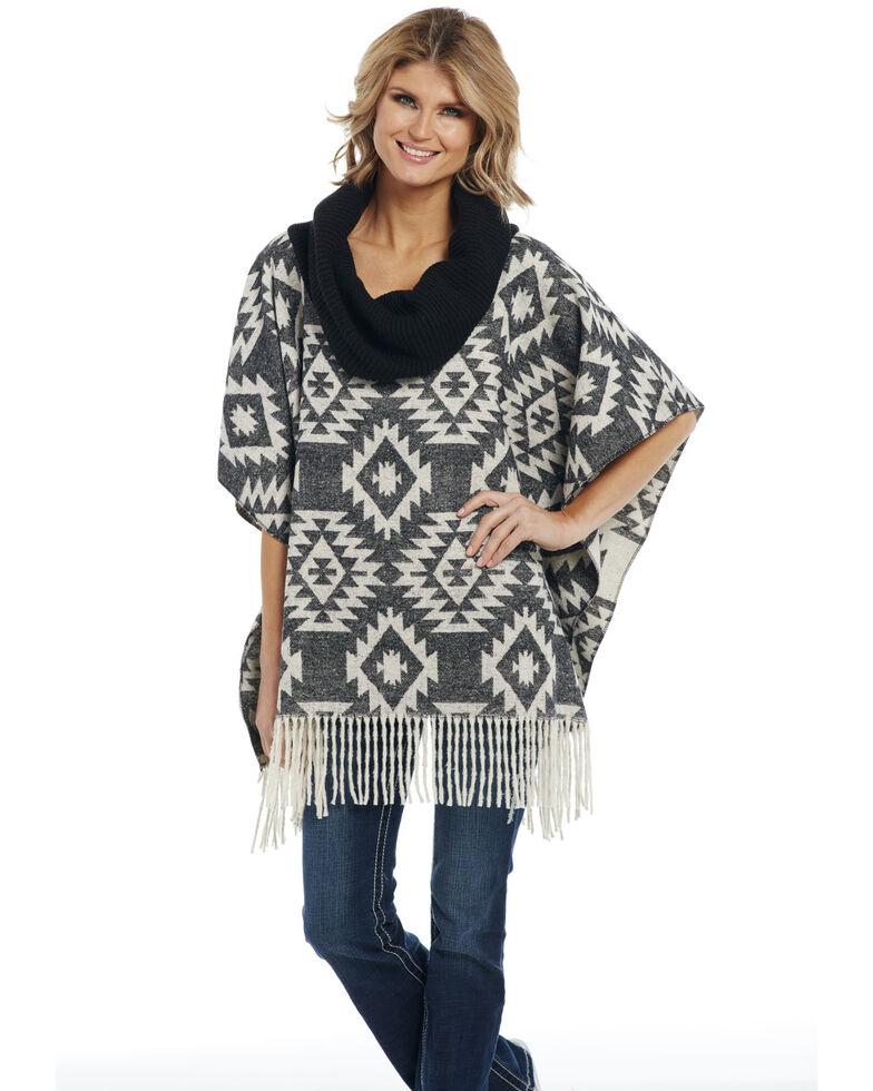 Cripple Creek Women's Aztec Navajo Blanket Knit Fringe Cowl Poncho , Black, hi-res