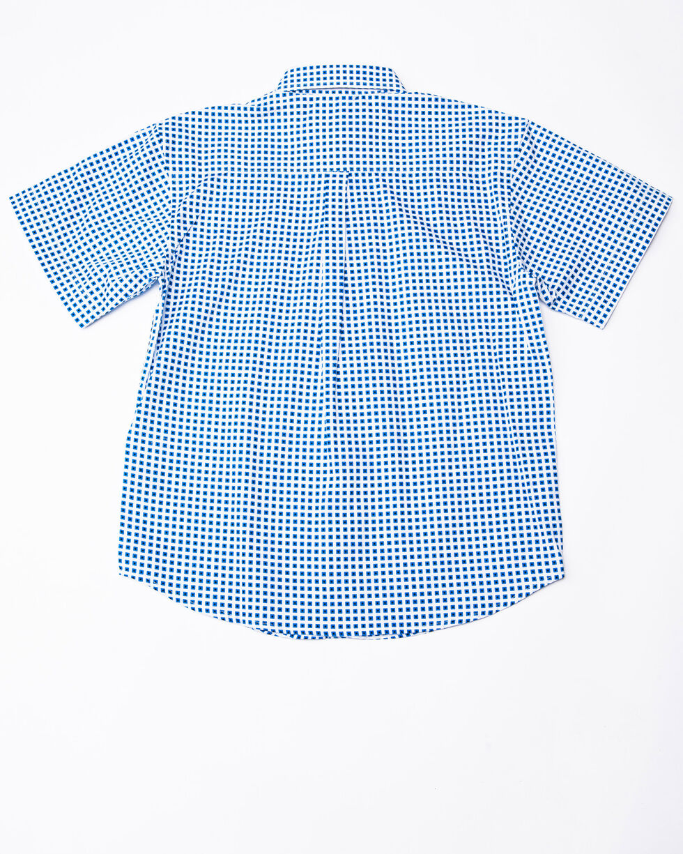 Panhandle Select Boys' Peached Poplin Print Short Sleeve Western Shirt , White, hi-res