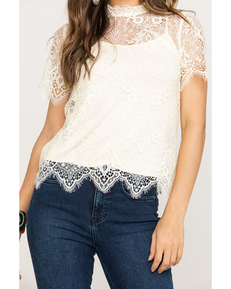 Miss Me Women's White Allover Lace Top, Ivory, hi-res